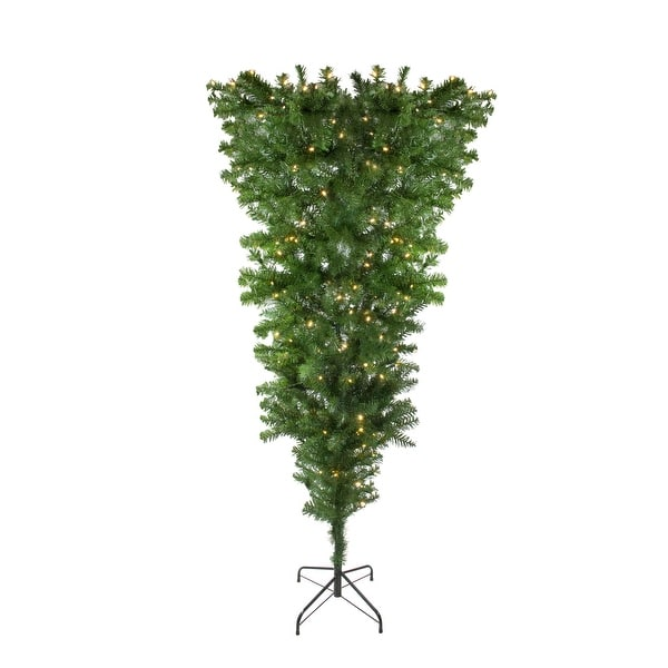 6 5 Pre Lit Upside Down Spruce Artificial Christmas Tree Warm White Led Lights 6 5 Foot