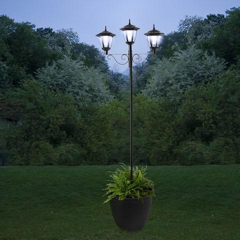 Glitzhome 6FT Solar Three Head Street Light with a Planter Pot - Black