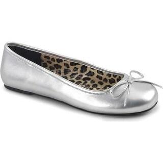 Pleaser Pink Label Women's Anna 01 Ballet Flat Silver Metallic Polyurethane