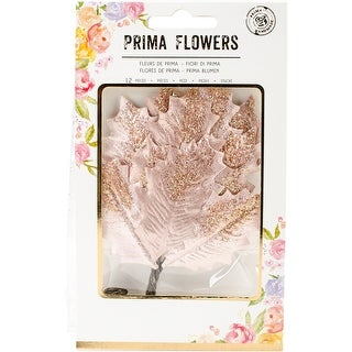 Touch Of Rose; Rose Gold - Prima Marketing Glittered Leaf Stems