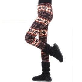 Elastic Snowflake Knitted Nordic Reindeer Pants Trousers Leggings ONE SIZE