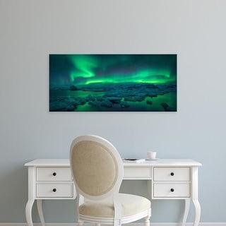 Easy Art Prints Panoramic Images's 'Aurora borealis above Jokulsarlon glacier lagoon, Iceland' Premium Canvas Art