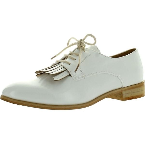 Miim Fiona-03 Women's Stylish Lace-Up Fringe Oxford Casual Shoes - White