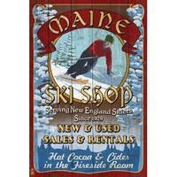 ME Ski Shop Vintage Sign - LP Artwork (Cotton/Polyester Chef's Apron)
