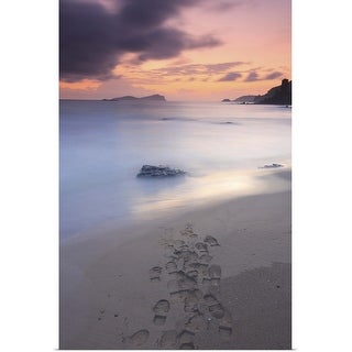 """Footprints on beach at sunset."" Poster Print"