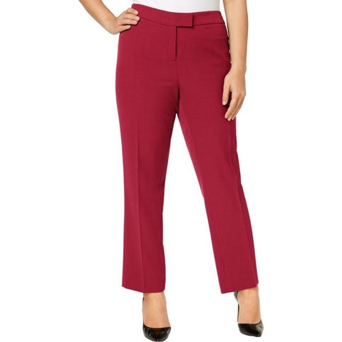 Anne Klein Red Womens Size 16W Plus Flat-Front Dress Pants Stretch