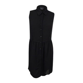 City Chic Women's Plus Size Button-Down High-Low Tunic (L, Black) - Black