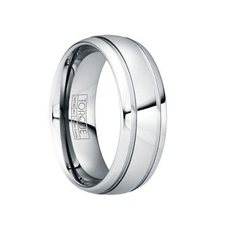 PAULINUS Polished Tungsten Carbide Wedding Band with Dual Grooves by Crown Ring - 6mm