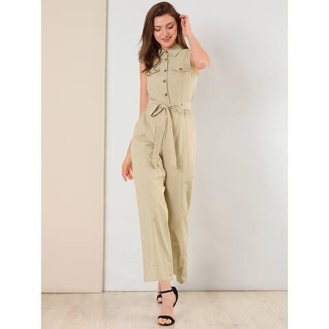 Allegra K Women's Ankle Button Front Elastic Back Sleeveless Jumpsuit - Khaki