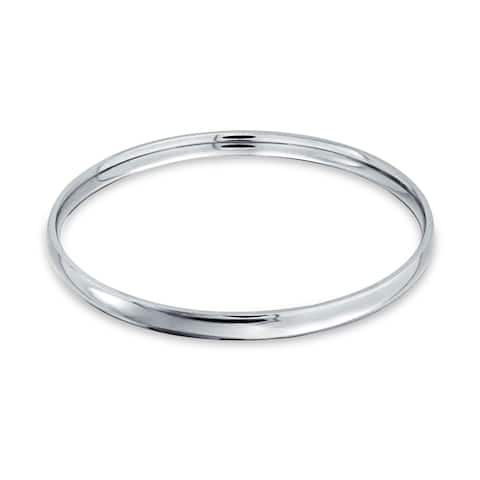 Domed Stackable 5mm Round Smooth High Polish Bangle Bracelet Silver Tone Stainless Steel For Women 8.5 Inch