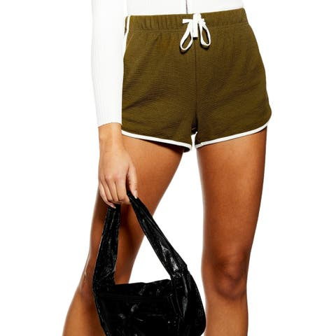 Topshop Womens Green Size 4 Waffle Knit Drawstring Contrast Trim Shorts 511