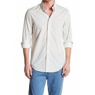 Ben Sherman NEW White Ivory Mens Size Large L Paisley Button Down Shirt