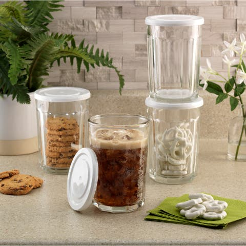 Luminarc 21 Ounce Working Glass Storage Jar/Cooler with Lids, Set of 4