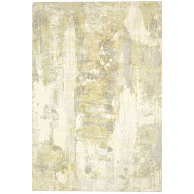 One of a Kind Hand-Woven Modern 5' x 8' Abstract Wool Green Rug - 5' x 8'