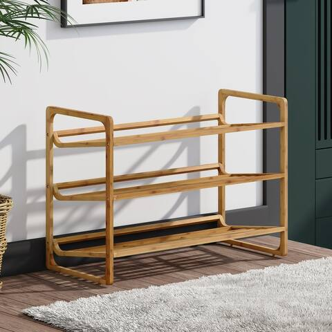 Corvus Matura 3-tier Natural Finish Bamboo Freestanding Shoe Rack Shelves