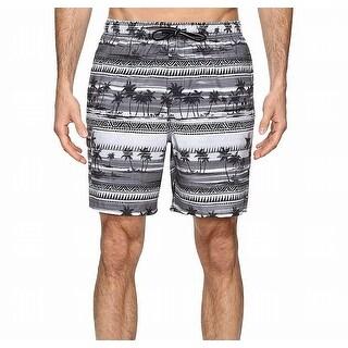 Quiksilver Gray Mens Size XL Trunks Printed Drawstring Swimwear