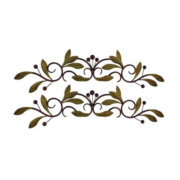 30 Inch Metal Olive Branch Doortop Wall Hanging Set Of 2