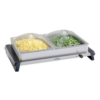 BroilKing NBS-2SP Professional Double Buffet Server w/Stainless Base & Plastic Lids