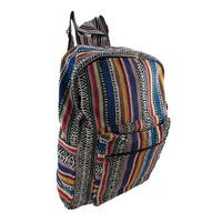 Striped Woven Cotton Tapestry Backpack