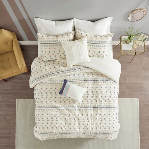 The Curated Nomad Damon 5-piece Cotton Jacquard Duvet Cover Set