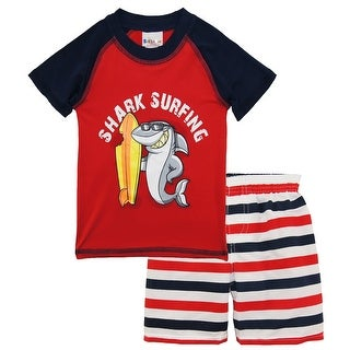 Sweet & Soft Toddler Boys Shark Surfing Rash Guard Stripe Swim Trunk Set