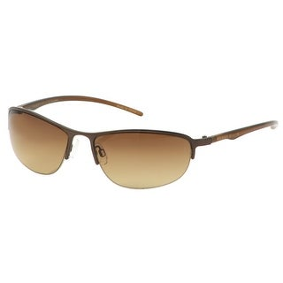 Perry Ellis Mens Bottom Rimless Metal Sunglasses Brown PE14-3, Includes Perry Ellis Pouch, 100% UV Protection