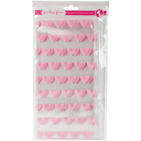 """Pink Heart - Freckled Fawn Printed Clear Plastic Double Pouch 8.5""""X4.5"""""""