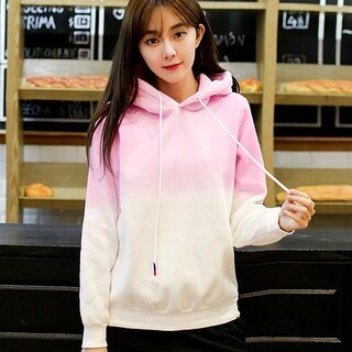 Unisex Fashion Long Sleeve Sweet Casual Gradient Color Pullover Hooded Hoodie