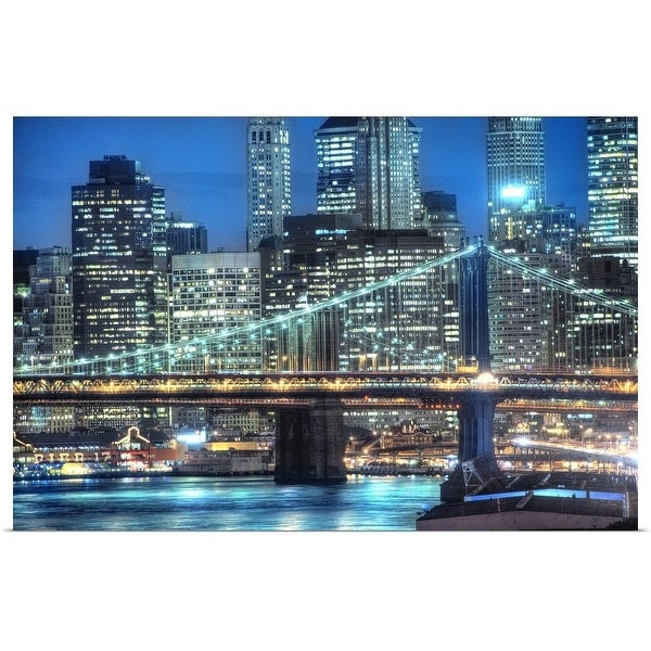 """""""Downtown NY and two bridges"""" Poster Print"""