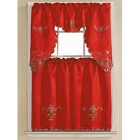 Harmony 3-Piece Embroidered Kitchen Curtain Set, Red, Tiers 30x36, Swag 60x36 Inches