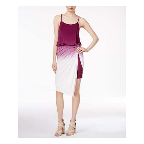 KENSIE Womens Purple Tie Ombre Spaghetti Strap Scoop Neck Midi Blouson Dress Petites Size: S