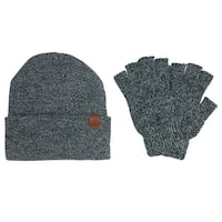 ClimaZer0 Marbled Hat and Fingerless Gloves Winter Set - One size