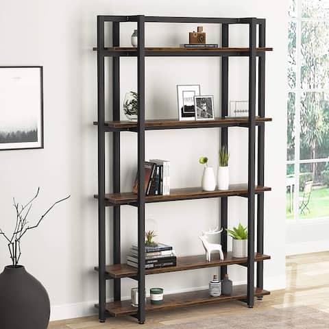 Tribesigns 5-Tier Bookshelf, Industrial Vintage Etagere Bookcase