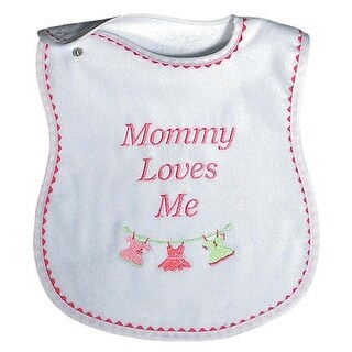 """Raindrops Baby Girls """"Mommy Loves Me"""" Embroidered Bib, Strawberry - One size"""
