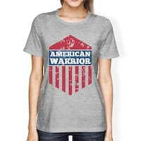 American Warrior Tee Womens Gray Cotton Tshirt American Flag Shirt