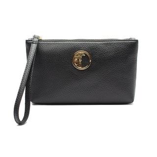 Versace Collection Medusa Logo Leather Wristlet Handbag - Black - S
