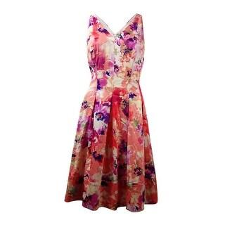 Lauren Ralph Lauren Women's V-Neck Floral Sundress - coral/lavender purple
