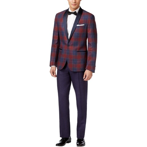 RYAN SEACREST Slim Red and Purple Plaid Linen Tuxedo 38 Long 38L Pants 31W $650