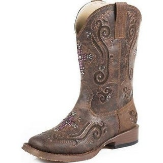Roper Western Boots Girl Cross Crystal Inlay Brown