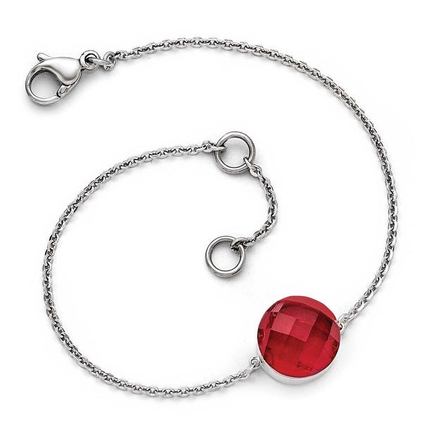 Chisel Stainless Steel Polished Red Glass with 1 inch Extension Bracelet