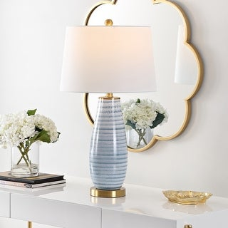 """Link to Safavieh Lighting 26.5-inch Eliana Glass Table Lamp - 15"""" x 15"""" x 26.5"""" Similar Items in Table Lamps"""