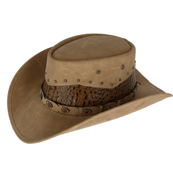 d77d5973be7 Shop Kenny K Men s Faux Leather Western Hat with Decorated Crown ...