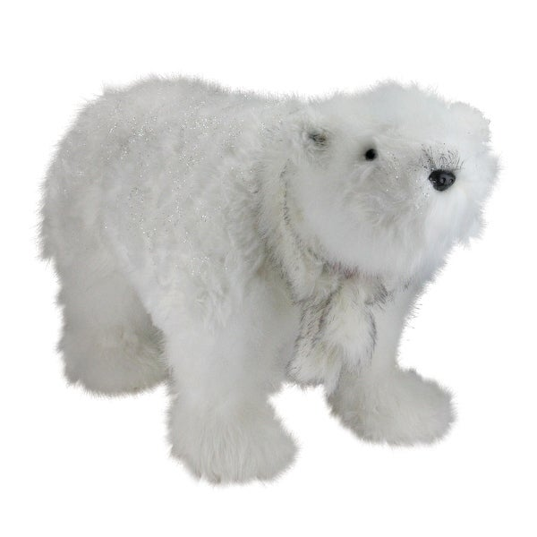 """28"""" Winter's Beauty Sparkling White Polar Bear with Scarf Christmas Figure Decoration"""