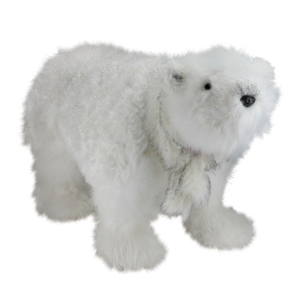 "28"" Sparkling White Polar Bear with Scarf Christmas Figure Decoration"
