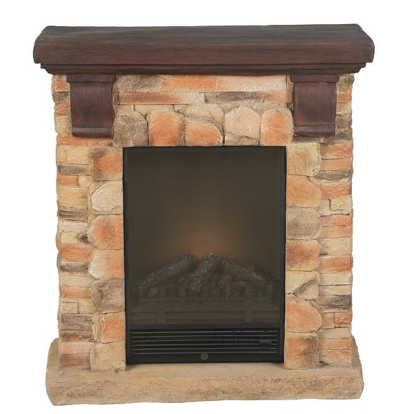 Polystone Brick Free Standing Electric Fireplace Heater Mantel With Remote Overstock 32140322