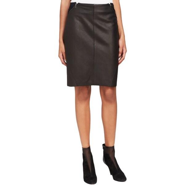 0b055be1edc12 Shop Elie Tahari Womens Daniella Pencil Skirt Leather Wool - Free ...