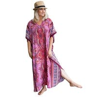 Metropolitan Women's Fuchsia Long Lounger - Printed V-Neck Silky Caftan Dress - One size