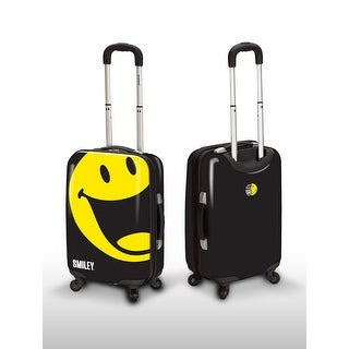 Smiley 22 Inch Carry On Rolling World Happy Luggage - Black