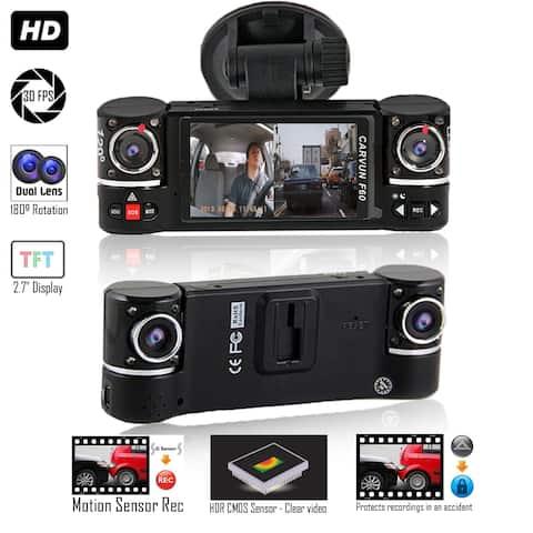 """Indigi® F600 Car DVR DashCam w/ DualRotating Cameras (Front+Rear) BlackBox Recorder with 2.7"""" Split LCD w/ 32gb microSD Included"""