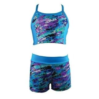 Reflectionz Girls Turquoise Paint Splatter Top 2 Pc Shorts Set